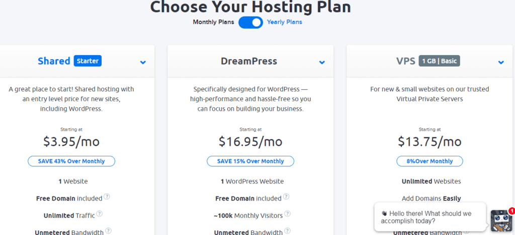 Choose a hosting plan