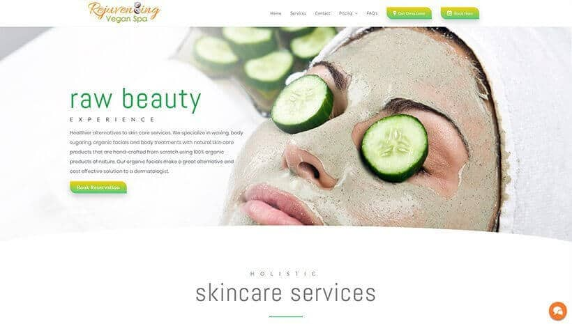 Rejuvenating Vegan Spa website