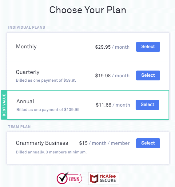 Choose grammarly plan