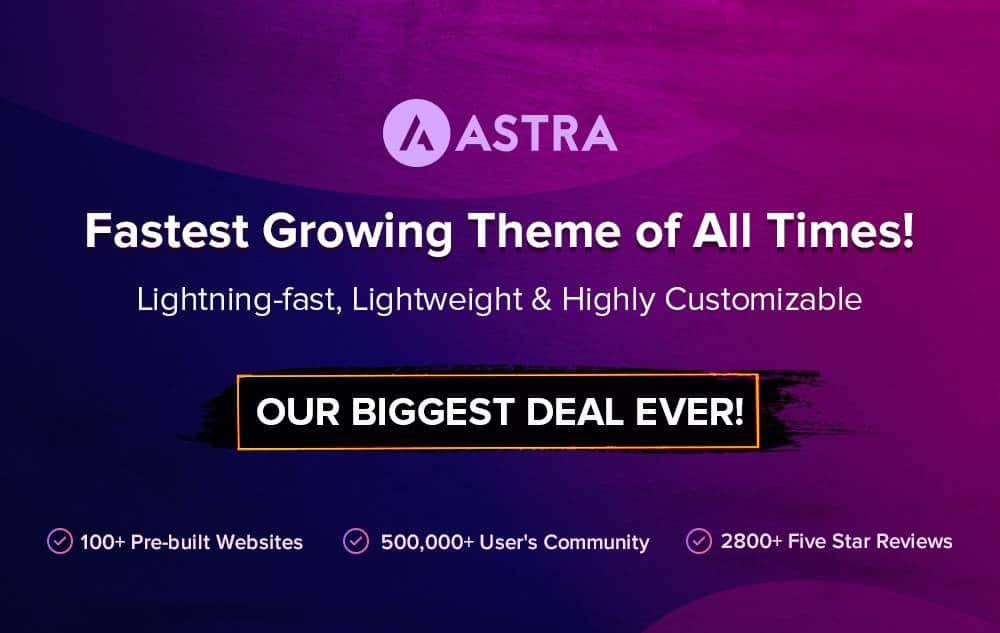 Astra Theme Black Friday Deals 2020: 30% OFF On All Plans 1