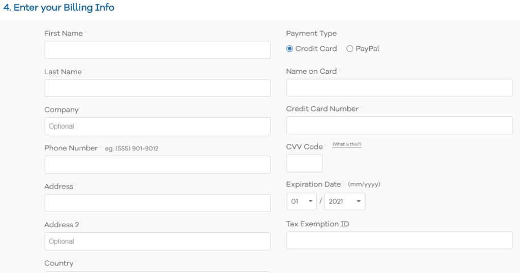 enter your billing information