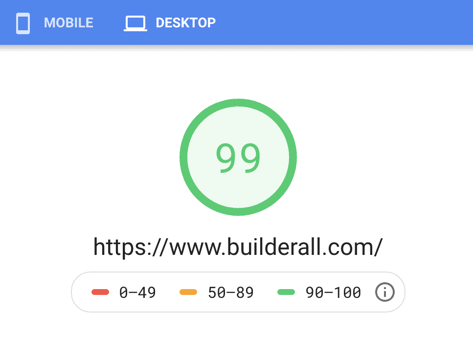Builderall speed in google